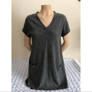 Vince Grey Cashmere Pullover V-Neck Tunic Sweater